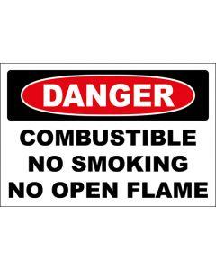 OSHA Hinweisschild Combustible No Smoking No Open Flame Danger | Aufkleber · Magnetschild · Aluminium-Schild
