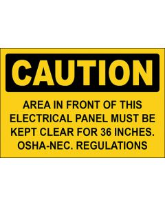OSHA Hinweisschild Area In Front Of This Electrical Panel Must Be Kept Clear For 36 Inches. Osha-Nec. Regulations Caution   Aufkleber · Magnetschild · Aluminium-Schild