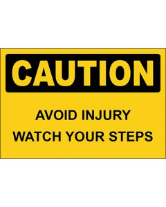 OSHA Hinweisschild Avoid Injury Watch Your Steps Caution | Aufkleber · Magnetschild · Aluminium-Schild
