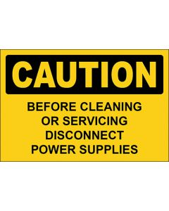 OSHA Hinweisschild Before Cleaning Or Servicing Disconnect Power Supplies Caution   Aufkleber · Magnetschild · Aluminium-Schild