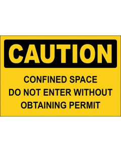 OSHA Hinweisschild Confined Space Do Not Enter Without Obtaining Permit Caution | Aufkleber · Magnetschild · Aluminium-Schild