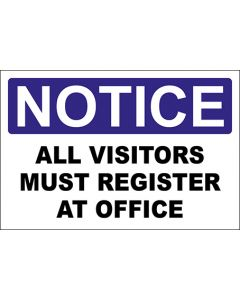 OSHA Hinweisschild All Visitors Must Register At Office Notice | Aufkleber · Magnetschild · Aluminium-Schild