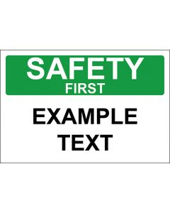 OSHA Hinweisschild Example Text Safety First | Aufkleber · Magnetschild · Aluminium-Schild