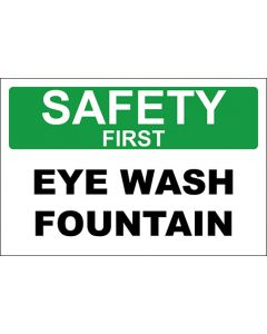 OSHA Hinweisschild Eye Wash Fountain Safety First | Aufkleber · Magnetschild · Aluminium-Schild