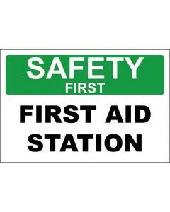 OSHA Hinweisschild First Aid Station Safety First | Aufkleber · Magnetschild · Aluminium-Schild