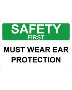 OSHA Hinweisschild Must Wear Ear Protection Safety First | Aufkleber · Magnetschild · Aluminium-Schild