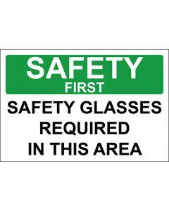 OSHA Hinweisschild Safety Glasses Required In This Area Safety First | Aufkleber · Magnetschild · Aluminium-Schild