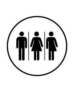 WC Toiletten Kennzeichnung | Herren · Damen · Transgender | weiss · rund