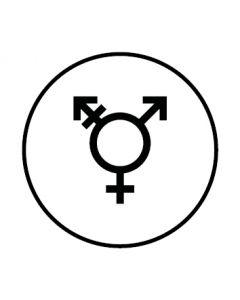 WC Toiletten Kennzeichnung | Symbol Transgender | weiss · rund