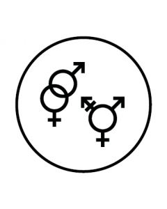 WC Toiletten Kennzeichnung | Symbol Herren · Damen · Transgender | weiss · rund