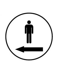 WC Toiletten Kennzeichnung | Piktogramm Herren Pfeil links | weiss · rund