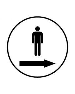 WC Toiletten Kennzeichnung | Piktogramm Herren Pfeil rechts | weiss · rund