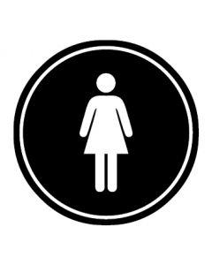 WC Toiletten Kennzeichnung | Damen | schwarz · rund