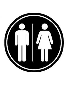 WC Toiletten Kennzeichnung | Herren · Damen | schwarz · rund