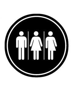 WC Toiletten Kennzeichnung | Herren · Damen · Transgender | schwarz · rund
