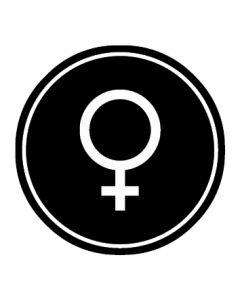 WC Toiletten Kennzeichnung | Symbol Frau | schwarz · rund