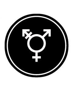 WC Toiletten Kennzeichnung | Symbol Transgender | schwarz · rund