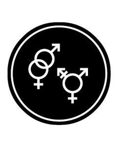 WC Toiletten Kennzeichnung | Symbol Herren · Damen · Transgender | schwarz · rund