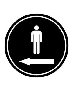 WC Toiletten Kennzeichnung | Piktogramm Herren Pfeil links | schwarz · rund