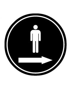 WC Toiletten Kennzeichnung | Piktogramm Herren Pfeil rechts | schwarz · rund