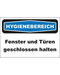 Hinweis-Schild Hygienebereich Fenster und Türen geschlossen halten