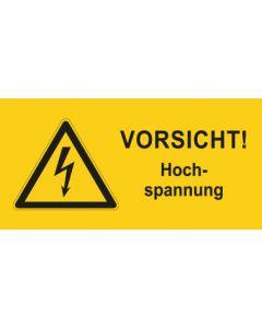 Warnhinweis Elektrotechnik Vorsicht Hochspannung · mit Warnzeichen