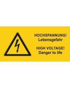 Warnhinweis Elektrotechnik Hochspannung-Lebensgefahr D-E · mit Warnzeichen