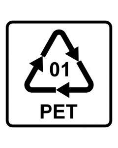 Recycling Code 01 · PET · Polyethylenterephthalat  | viereckig · weiß · Aufkleber | Schild | Magnetschild