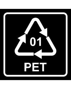 Recycling Code 01 · PET · Polyethylenterephthalat  | viereckig · schwarz · Aufkleber | Schild | Magnetschild