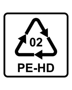 Recycling Code 02 · PEHD · High Density Polyethylen (hochdichtes Polyethylen) | viereckig · weiß · Aufkleber | Schild | Magnetschild