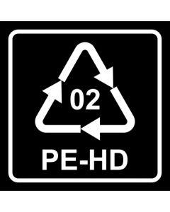 Recycling Code 02 · PEHD · High Density Polyethylen (hochdichtes Polyethylen) | viereckig · schwarz · Aufkleber | Schild | Magnetschild