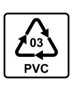 Recycling Code 03 · PVC · Polyvinylchlorid | viereckig · weiß · Aufkleber | Schild | Magnetschild