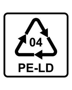 Recycling Code 04 · PELD · Low Density Polyethylen (Polyethylen niedriger Dichte) | viereckig · weiß · Aufkleber | Schild | Magnetschild