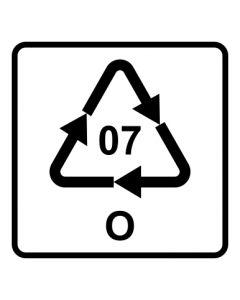 Recycling Code 07 · O · andere Kunststoffe wie Polyamid, ABS oder Acryl | viereckig · weiß · Aufkleber | Schild | Magnetschild