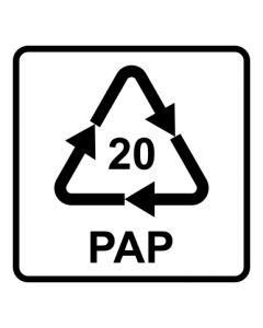 Recycling Code 20 · PAP · Wellpappe | viereckig · weiß · Aufkleber | Schild | Magnetschild