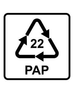 Recycling Code 22 · PAP · Papier | viereckig · weiß · Aufkleber | Schild | Magnetschild