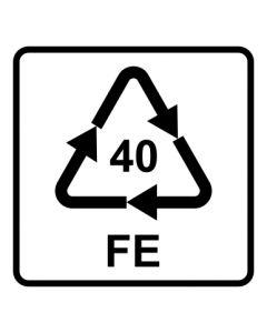 Recycling Code 40 · FE · Eisen/Stahl | viereckig · weiß · Aufkleber | Schild | Magnetschild