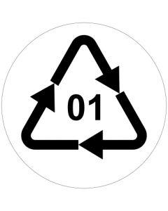 Recycling Code 01 · PET · Polyethylenterephthalat  | rund · weiß · Aufkleber | Schild | Magnetschild
