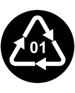 Recycling Code 01 · PET · Polyethylenterephthalat  | rund · schwarz · Aufkleber | Schild | Magnetschild