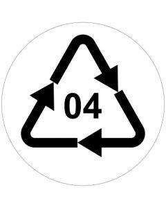 Recycling Code 04 · PELD · Low Density Polyethylen (Polyethylen niedriger Dichte) | rund · weiß · Aufkleber | Schild | Magnetschild