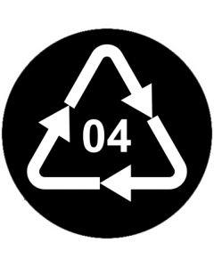 Recycling Code 04 · PELD · Low Density Polyethylen (Polyethylen niedriger Dichte) | rund · schwarz · Aufkleber | Schild | Magnetschild