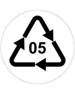 Recycling Code 05 · PP · Polypropylen | rund · weiß · Aufkleber | Schild | Magnetschild