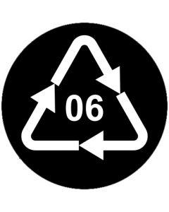 Recycling Code 06 · PS · Polystyrol | rund · schwarz · Aufkleber | Schild | Magnetschild