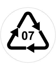 Recycling Code 07 · O · andere Kunststoffe wie Polyamid, ABS oder Acryl | rund · weiß · Aufkleber | Schild | Magnetschild
