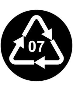 Recycling Code 07 · O · andere Kunststoffe wie Polyamid, ABS oder Acryl | rund · schwarz · Aufkleber | Schild | Magnetschild