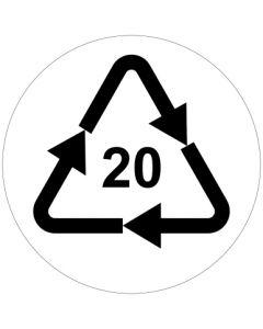 Recycling Code 20 · PAP · Wellpappe | rund · weiß · Aufkleber | Schild | Magnetschild