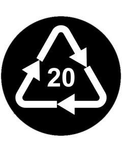 Recycling Code 20 · PAP · Wellpappe | rund · schwarz · Aufkleber | Schild | Magnetschild