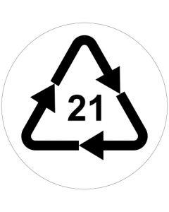 Recycling Code 21 · PAP · sonstige Pappen | rund · weiß · Aufkleber | Schild | Magnetschild