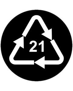 Recycling Code 21 · PAP · sonstige Pappen | rund · schwarz · Aufkleber | Schild | Magnetschild