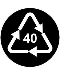 Recycling Code 40 · FE · Eisen/Stahl | rund · schwarz · Aufkleber | Schild | Magnetschild